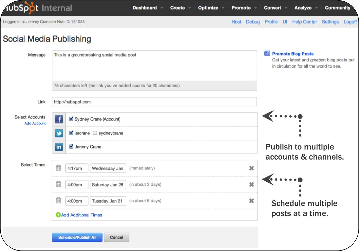 Social Media Publishing Screenshot