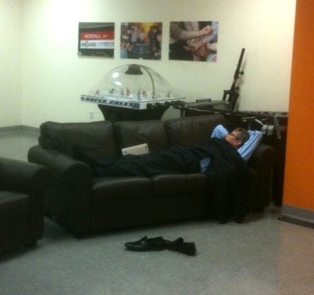 halligan sleeping in game roomb