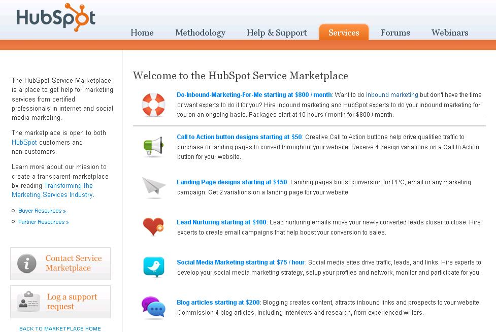 HubSpot Service Marketplace
