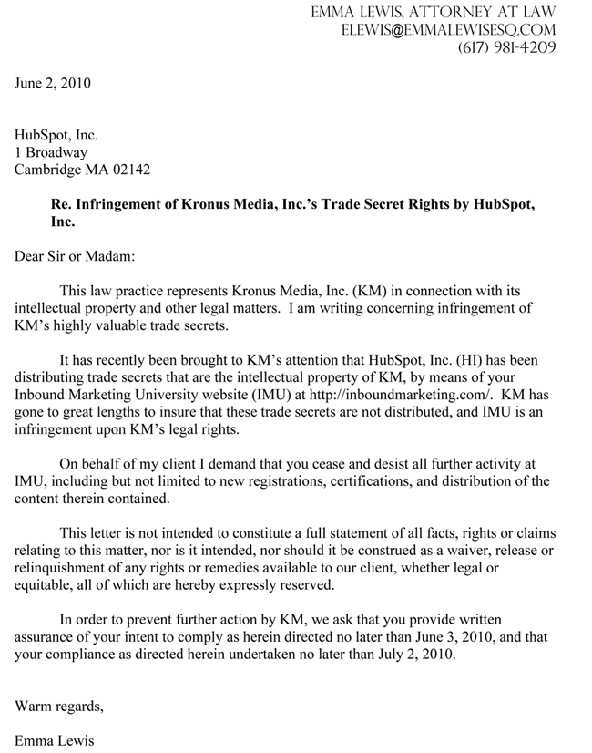 Outbound Marketing Agency Orders IMU Shutdown – Cease and Desist Sample Letter