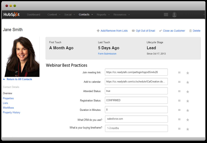 HubSpot ReadyTalk Integration