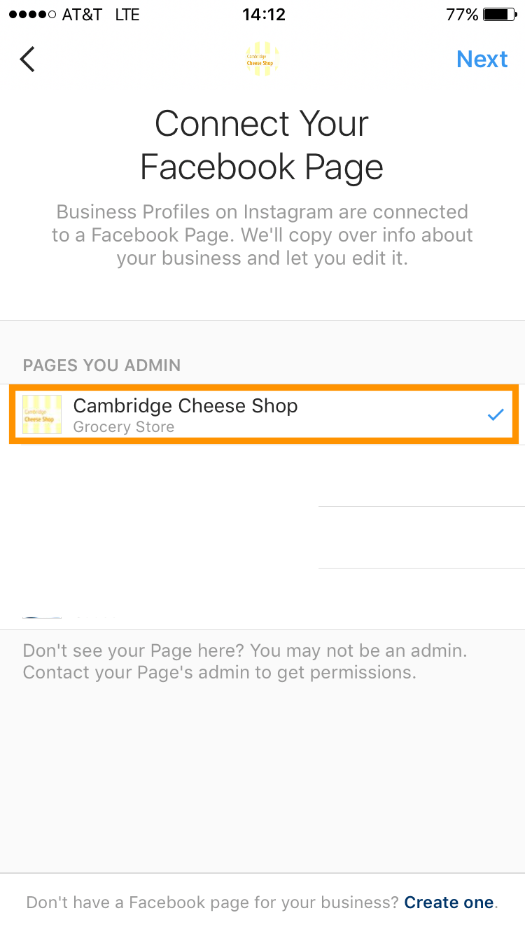 choose fb business page