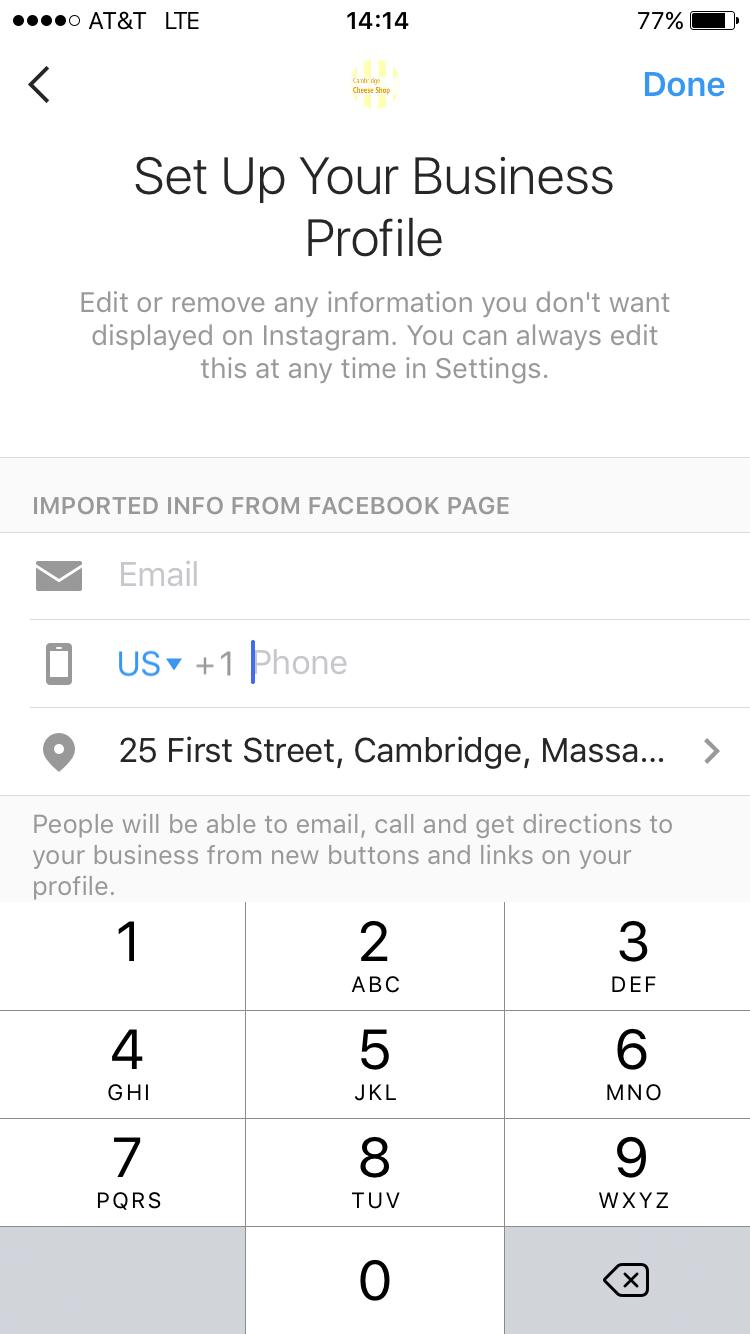 edit business profile info