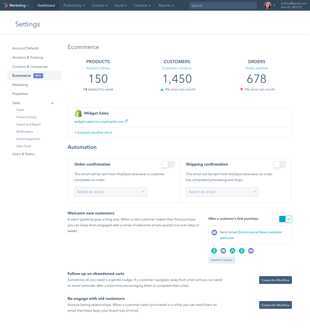 In Beta] HubSpot for Shopify and Ecomm Bridge API