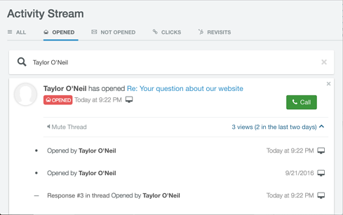 CRM Email Tracking activity stream