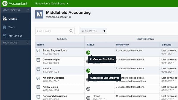 Accountant view on Quickbooks dashboard