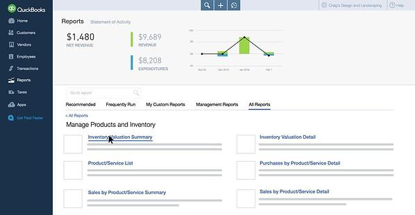 Dashboard view of the QuickBooks Inventory