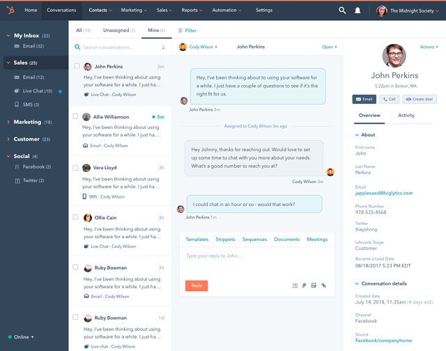 HubSpot Announces Free Conversations Tool for Multi-Channel, One-to-One Communication at Scale