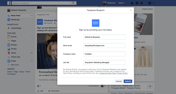 facebook ad leads example