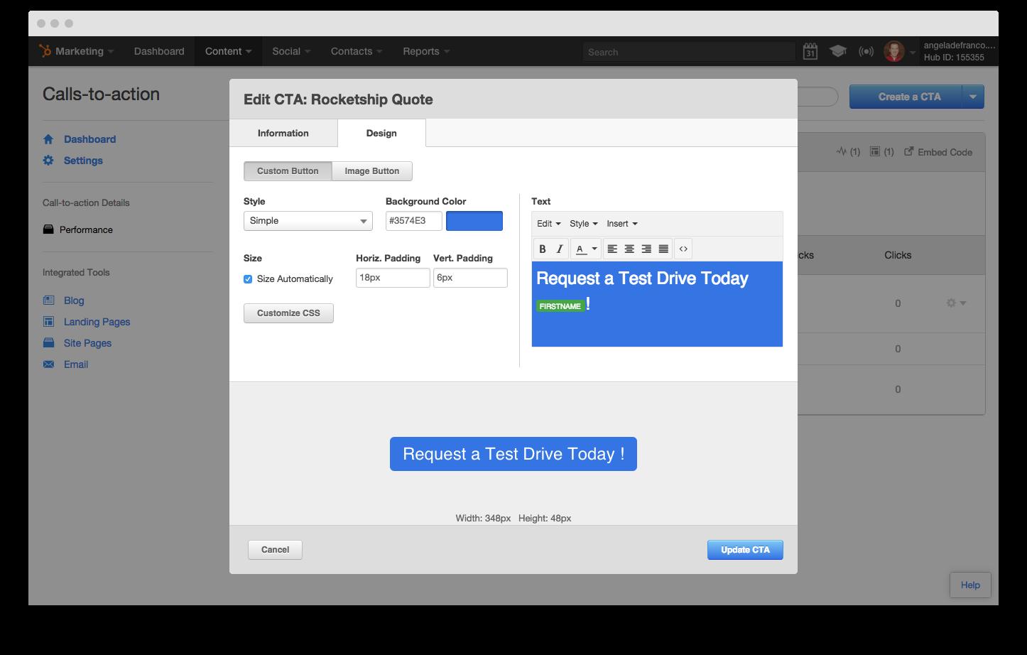 Insert a Personalization Token into a HubSpot CTA