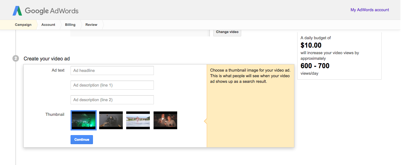 choosing a video campaign thumbnail