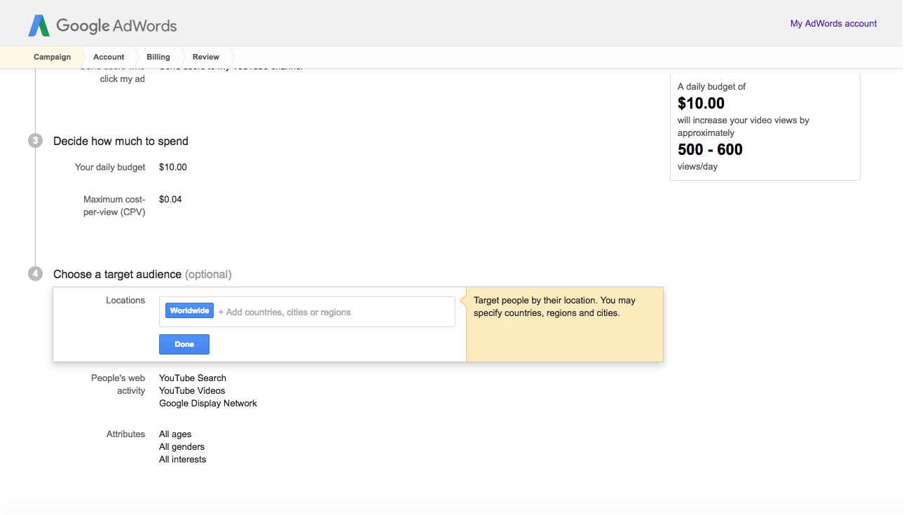 adwords geography