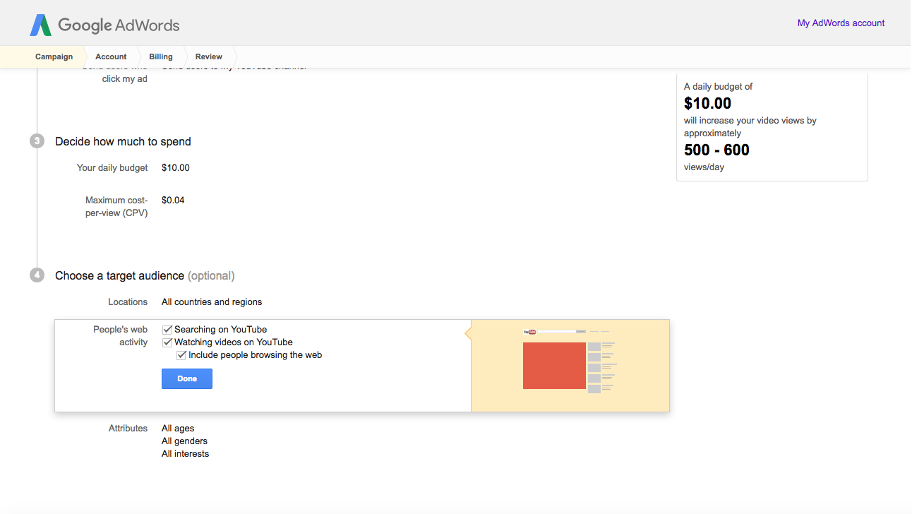 finalizing adwords campaign