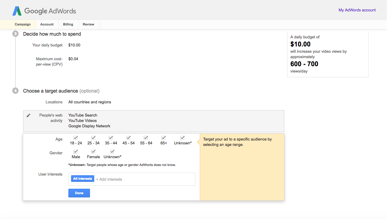 adwords demoraphics