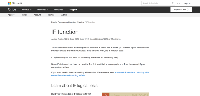 microsoft knowledge base if function