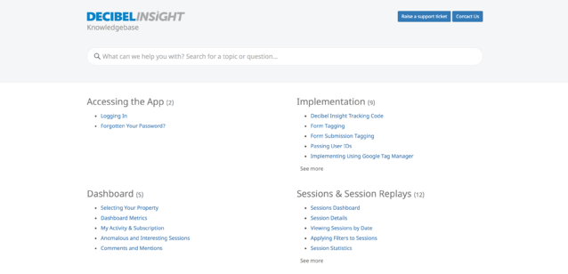 decibel insight knowledge base search