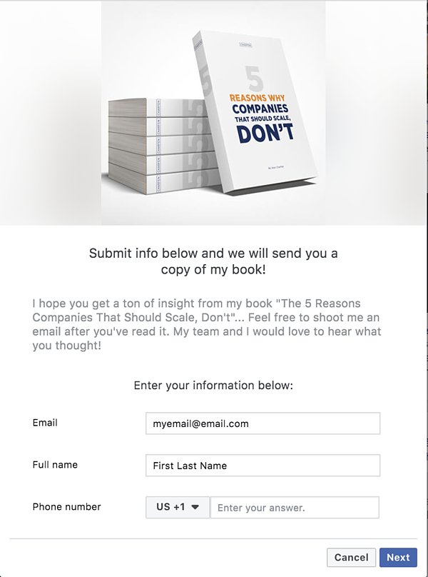 facebook lead ads form example