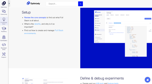 optimzely help center screenshots example