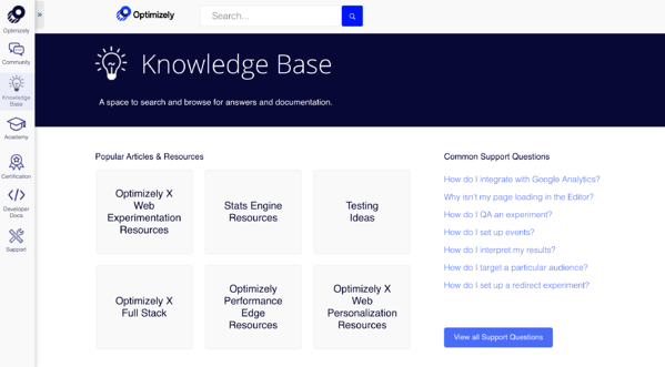 optimizely knowledge base