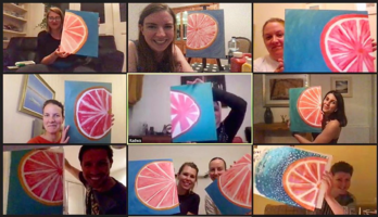 HubSpot employees painting on Zoom