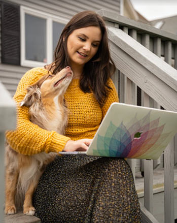HubSpot employee working at home with dog