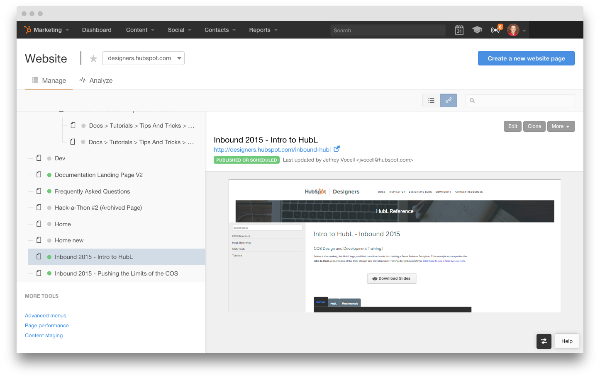 HubSpot Website Add-on Dashboard