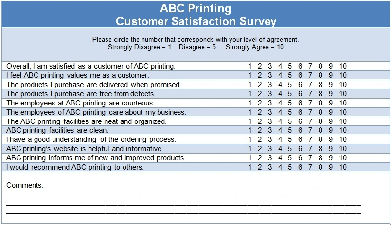 customer survey templates