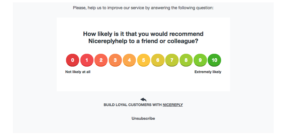 customer satisfaction nicereply survey
