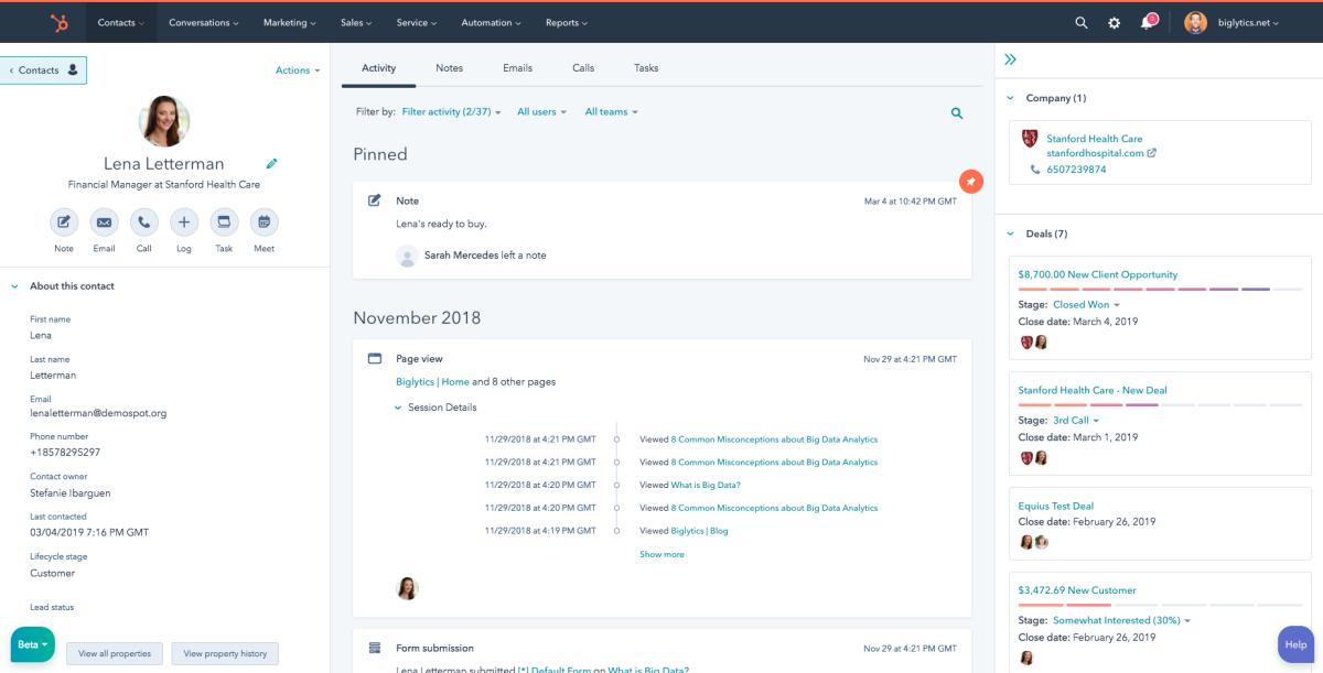 hubspot contact record interface