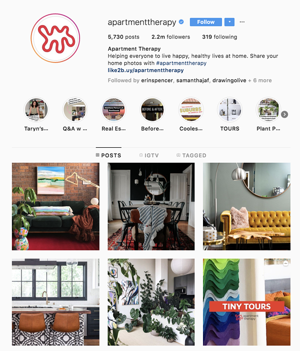 instagram marketing apartment therapy