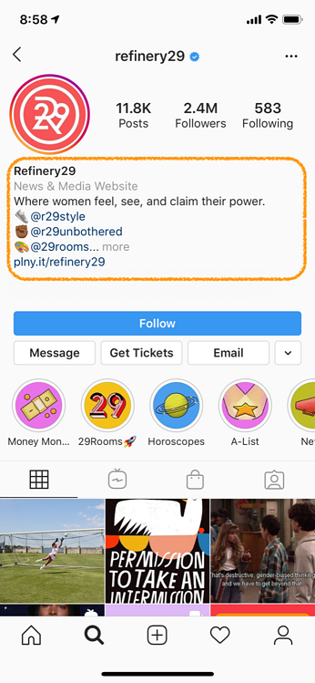 instagram marketing bio refinery29