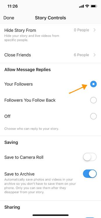 instagram marketing settings story
