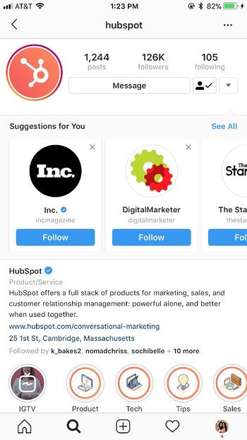 instagram marketing hubspot related accounts