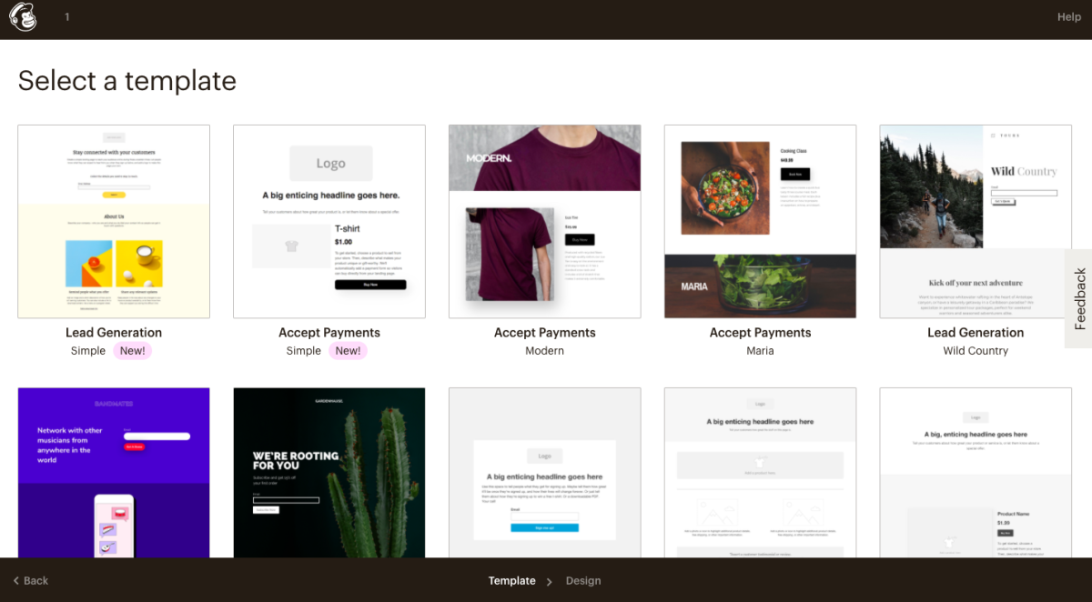 landing page and form templates in mailchimp