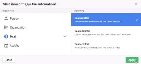 pipedrive automation triggers