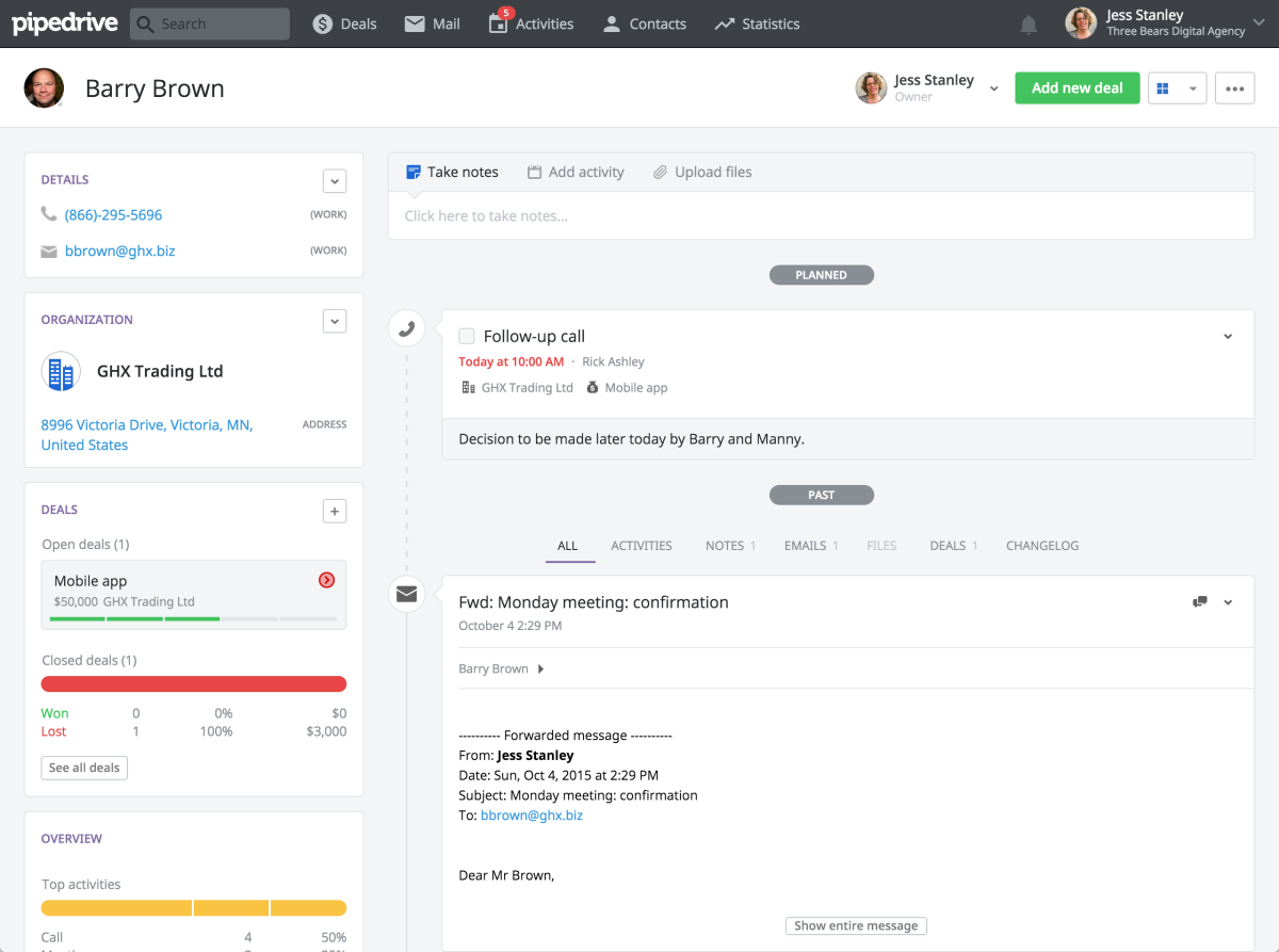 pipedrive interface