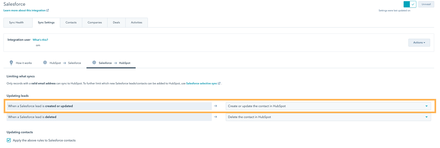 selective sync settings - create in hubspot when created or updated in salesforce