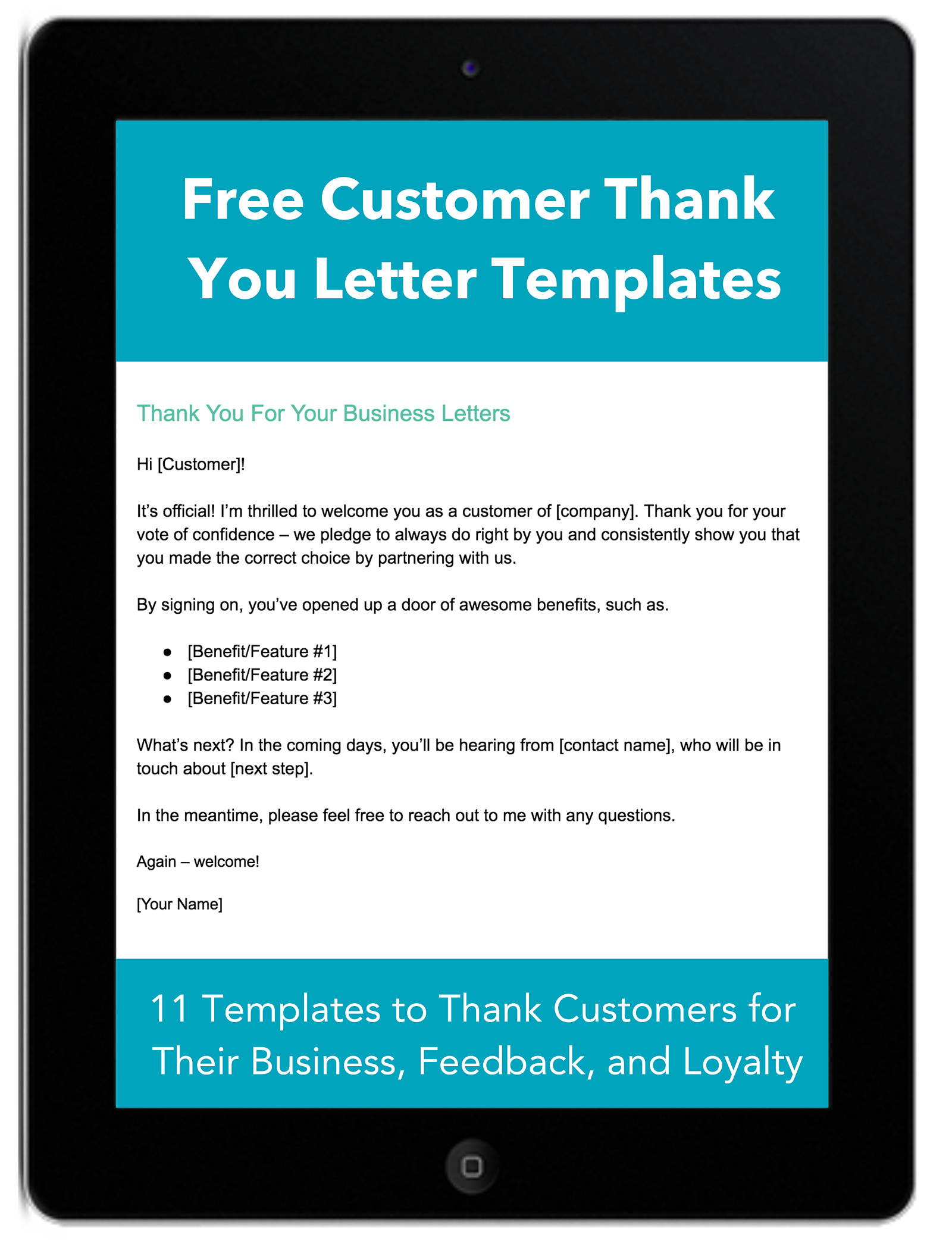 Customer Thank You Letter Templates