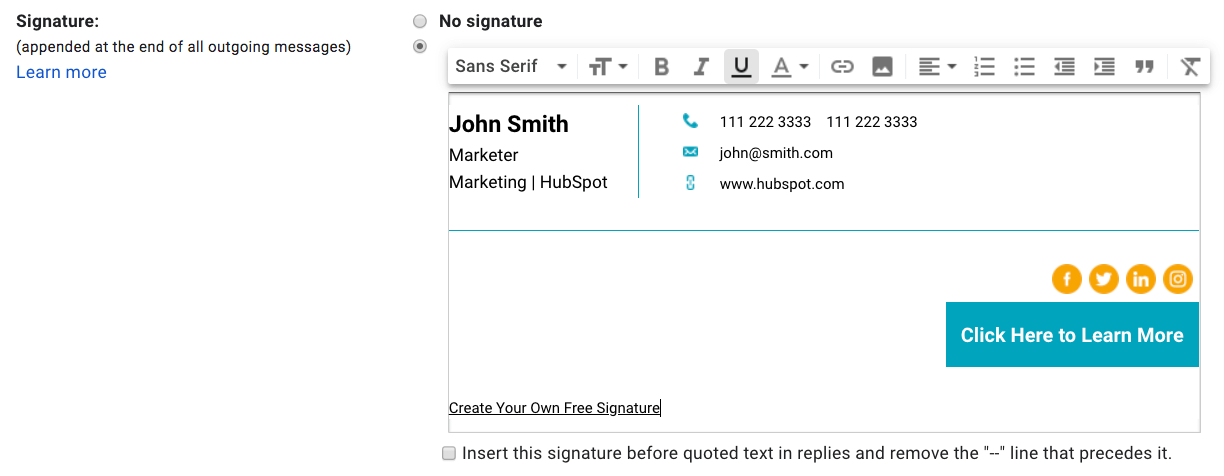 create your own email signature free