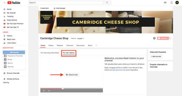 how to create a youtube channel theme