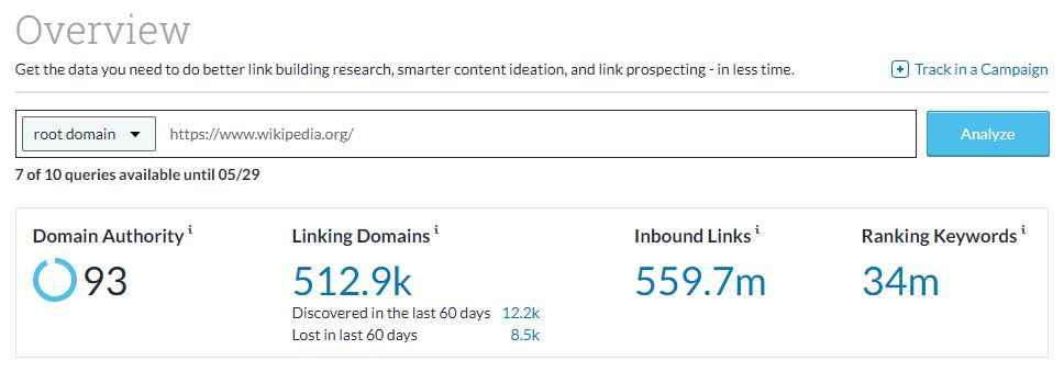 wikpedia check domain authority example