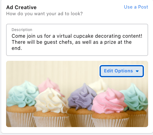 Ad Creative to boost an Event
