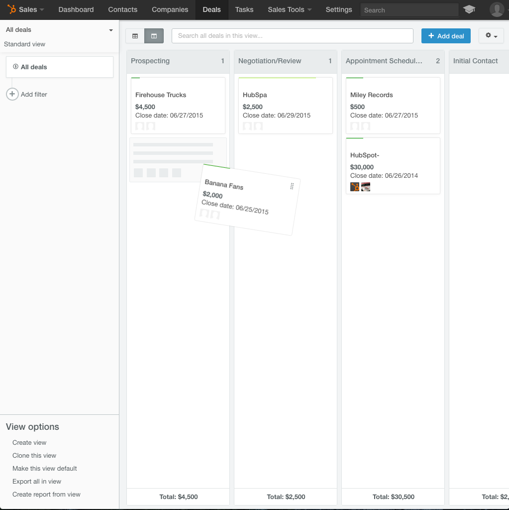HubSpot Free CRM Pipeline Management