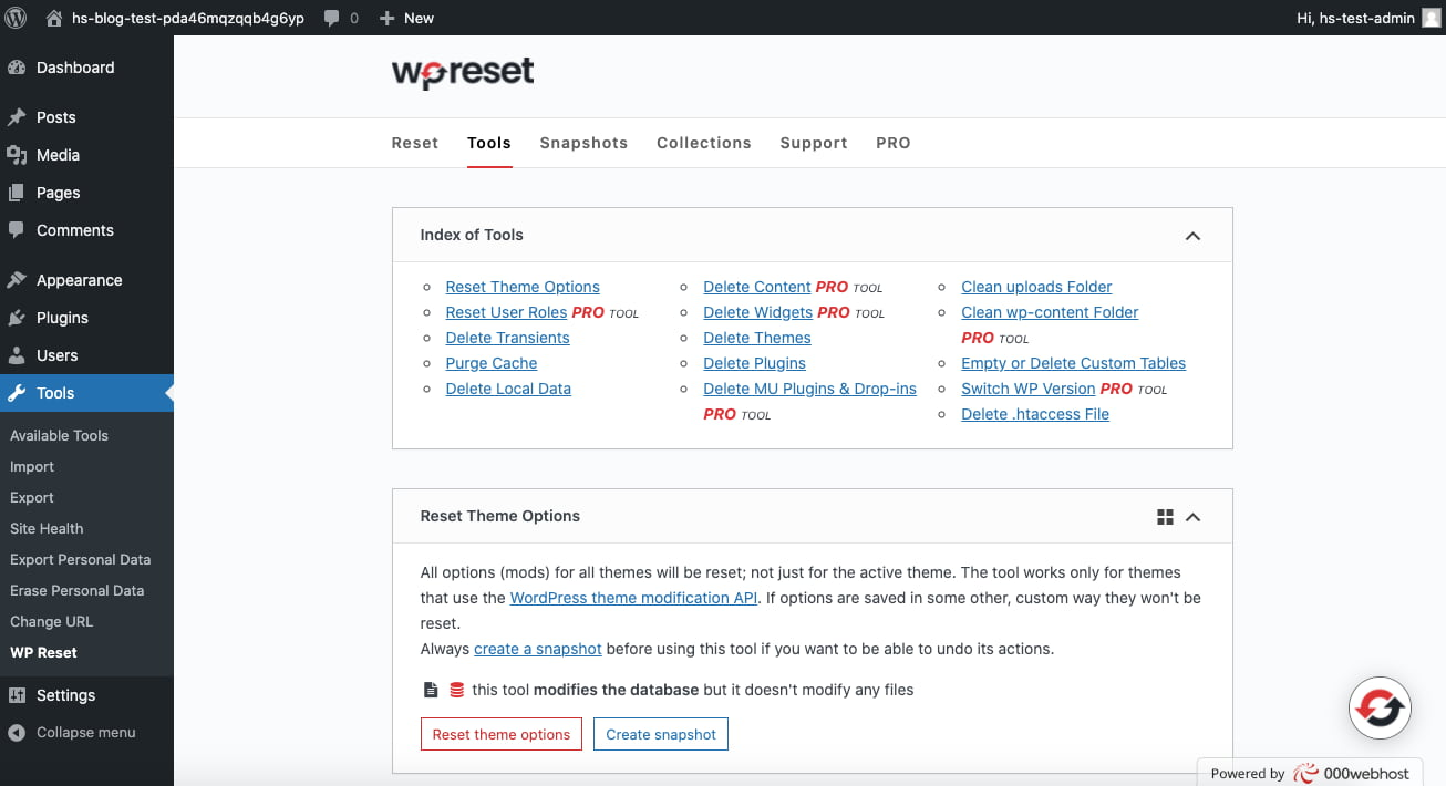 Click the Tools tab of the WP Reset plugin to delete theme and plugin files instead of just deactivating them