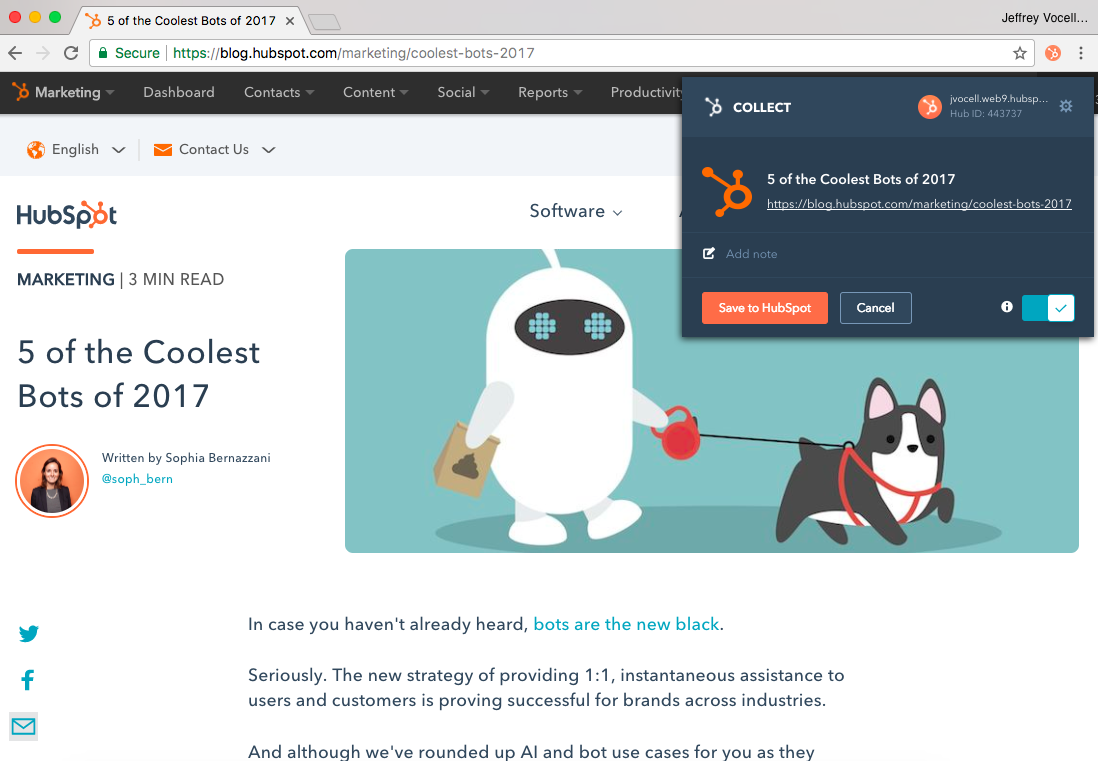 HubSpot Collect - Clip from the web