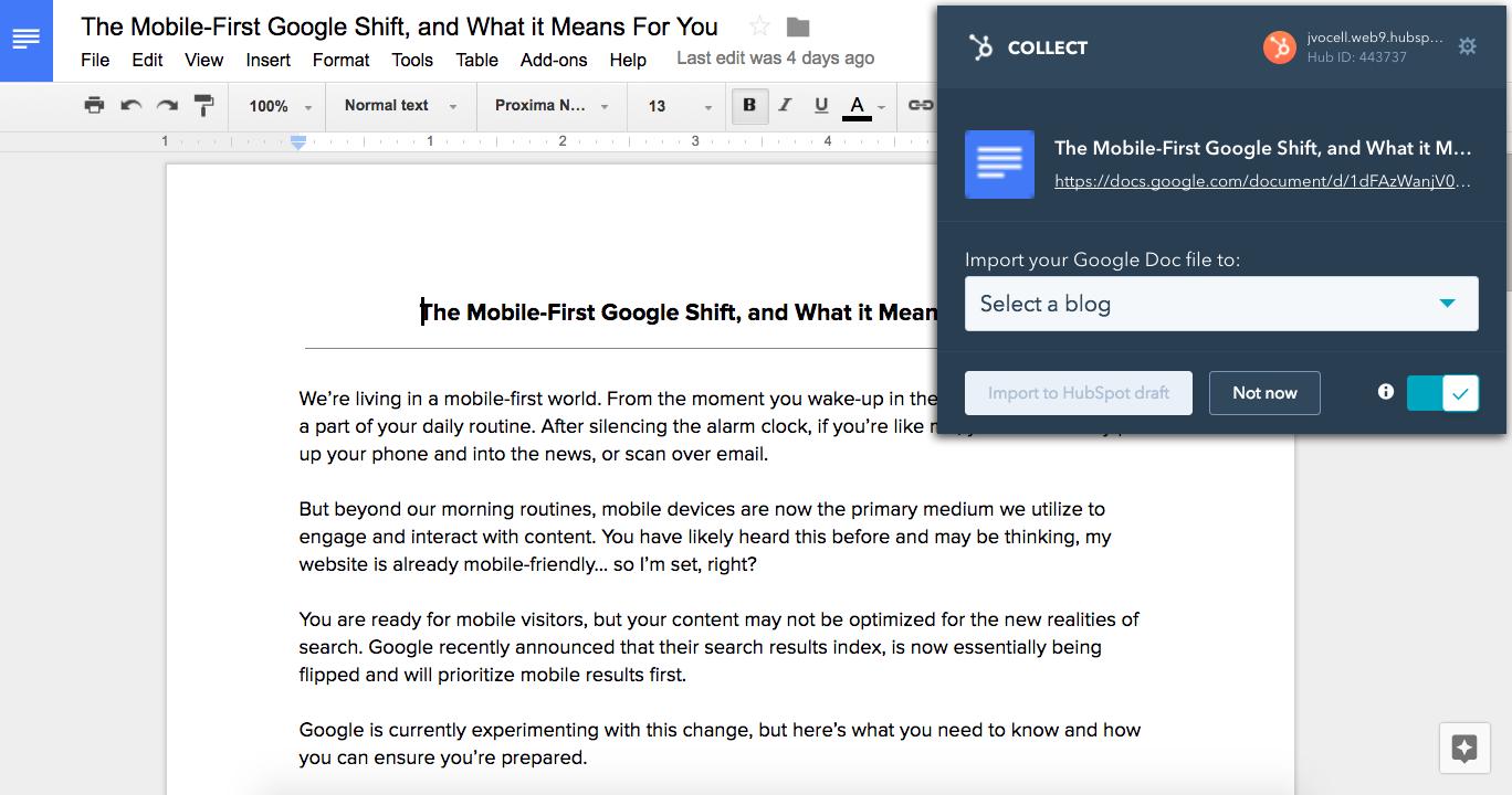 HubSpot Collect - Google Docs Integration