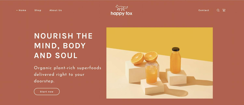 Ecommerce store happy fox built on GoDaddy Website Builder
