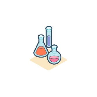 Test tubes and beakers illustration to indicate analytics filtering