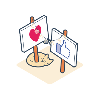Social media icon illustrations to indicate social permissions
