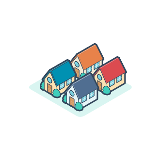 Illustration of four houses to indicate a growing community of people